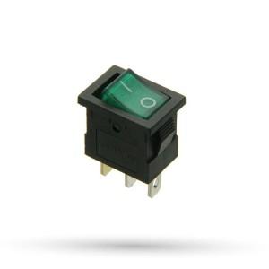 Przełącznik prostokątny 15A 12VDC zielony